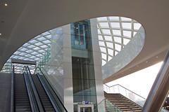 straight up to the curves (ohank1951) Tags: roof sculpture glass curves lines stairway elevator escalator railway prorail erasmusline erasmuslijn architecture station denhaag thehague zja zjazwartsjansma canoneos1100d efs1022mmf3545usm
