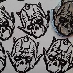 sith? krampus? (andres musta) Tags: blockprint blockprinting zas zombie zombieartsquad sticker stickerart