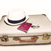 Reisepass und Urlaub mit Hut, Koffer und Geld in Frontaufnahme