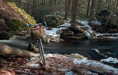 Sawmill River, North Leverett, MA (koperajoe) Tags: vintagetrek longexposure wintercycling winterbike rushingwater waterfall river 650b westernmassachusetts newengland randonneur nd4 trek613 nd8 nd12 velo