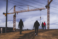 weekend in denver (xlowmiller) Tags: colorado cranes denver hills people walking