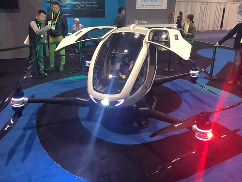 Steve, legally blind, figures this is his future transportation.   He might not be all that wrong about this self flying drone at  #CES2017
