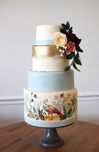 Illustrated Harvest Pheasant Cake with Sugar Flower Spray