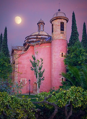 Barcelona old church (klepher) Tags: barcelona church moon purple tree stars violet night noche arbre architecture city green photo photography pictures