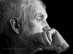 175A0024bw400x297s (Len Miles) Tags: man male beard thoughtful thinking