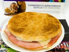 Toasted ham, cheese, and tomato roll (garydlum) Tags: breadroll tomato woden dijonmustard ham canberra swisscheese cheese phillip australiancapitalterritory australia au