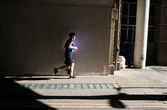 Glowing Runner (Bertie Oakes) Tags: street bridge blue light colour london lines real glow shadows darkness purple natural magic earlymorning shapes streetphotography strong glowing runner jogger bold deepshadow nikond7000 youngstreetphotographers