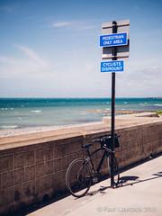 Dismount (amipal) Tags: uk greatbritain shadow sea summer england bike sign sussex seaside kodak unitedkingdom gb seafront saltdean ovingdean undercliff vsco vscofilm
