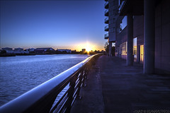 salford sunset 4 (Fonzi Photography) Tags: new city blue sunset landscape manchester twilight media bbc hour salford quays