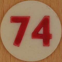 Bingo Number 74 (Leo Reynolds) Tags: xleol30x squaredcircle number numberbingo xsquarex bingo lotto loto houseyhousey housey housie housiehousie numberset 74 37multiple sqset120 70s canon eos 40d xx2015xx xxtensxx sqset