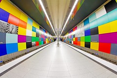 Funky Subway Station (C_MC_FL) Tags: city light urban art colors station architecture modern canon germany subway munich mnchen deutschland photography eos licht colorful colours fotografie pov kunst perspective sigma wideangle symmetry fisheye pointofview ubahn architektur futuristic bunt perspektive farben gerade 10mm weitwinkel symmetrie beleuchtet futuristisch fischauge georgbrauchlering leadingline symmetrisch fluchtpunkt 60d