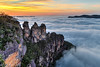 The Three Sisters at Sunrise (w h i t e w i t h o n e) Tags: australia au nsw newsouthwales bluemountains katoomba jamisonvalley valley echopoint threesisters rockformation rock landscape sunrise fog clouds dawn mountains echopointlookout lookout morning nationalpark canoneos6d canonef24105mmf4lisusm