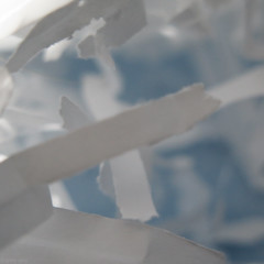 Fear of Depths (Coyoty) Tags: depth depthoffield dof height altitude macro bokeh macromondays justwhitepaper shredded paper lighting focus blur x diagonal white blue squareformat square depthperception illusion experiment gray grey light shadow still stilllife close closeup vanishingpoint edge color