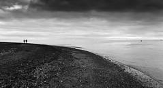 shoreline (Bruus UK) Tags: devon teignmouth shore beach sand sea sky couple people walking calmness coast marine together strolling bw