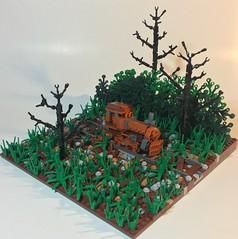 Forgotten Titan (dzambito42) Tags: lego train old rust field dilapidated tracks abandoned