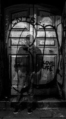 love life shadow in the doorway (PDKImages) Tags: lights longexposure manchesterstreetart manchesterart manchester cityscape artinthecity trails wall lightup bowie urban mural ghosts shadows ancoats ladies love alley alleyway streets