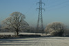 Side by Side (jillyspoon) Tags: pylon trees tree icy hoarfrost bilton niddgorge fields farming agriculture electricity branches twopylons power harrogate contrast nature january january2017 jillyspoon northyorkshire landscape twotrees furrows explore 79