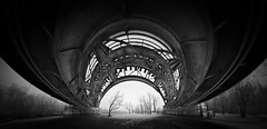 full metal sky - bw (koaxial) Tags: koaxial railroad bridge bw schwarzweiss black white stitch hugin pano stereographic landscape city urban p2131978a8p2131986av4stereoggimp1abw brücke