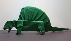 Origami Dimetrodon - 2 (Tankoda) Tags: fumiaki kawahata green foil japanese colored origami dimetrodon paper art travis nolan permain pelycosaurs