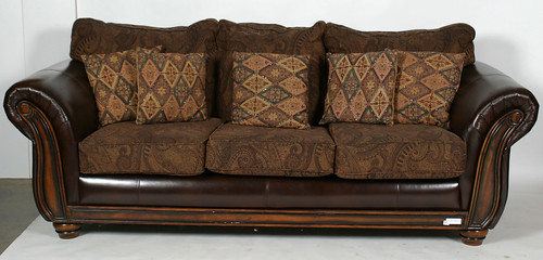 Leather Upholstered Sofa & Pillows ($363.00)