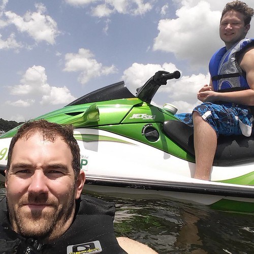 Me and @jarodwade_ catching some waves today!  First time of the summer and the Kawasaki is running great now!