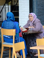 Istanbul coffee break (pineider) Tags: woman color coffee turkey nikon women break loneliness colours istanbul emptiness weak d4