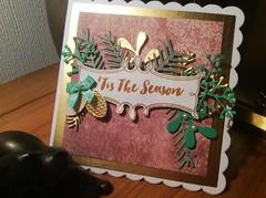 'Tis the Season Christmas card (margaret.pilkington47) Tags: handmade christmascard foliage stampedsentiment duskypinkandgold tinysatinbow pine cones gold beige stampin up stamp die sets