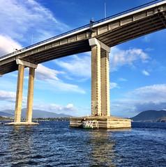 Working on the pylon base. Tasman Bridge. Derwent River.