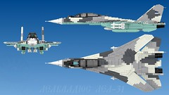 Lel-31 triple view (Awesome-o-saurus) Tags: lego jet fighter f14 su27 baby secret lovechild spawn monster