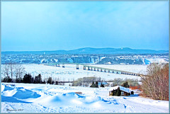 Matin d'hiver à l'Ile d' Orléans, Québec, Qc. Canada (Huguette T.) Tags: hiver neige glace fleuve pont iledorléans texture art paysage
