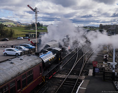 First Train Of The Day (Paul GF3) Tags: england embsaybolton ebasr yorkshire yorkshiredales embsay heritagerailway hunsletausterity north outdoors steamengine station steamtrain railway railroad railwaystation norman no35 ncb national coal board train abbey steam