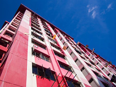 Big Red Block (HaIogen) Tags: olympus omdem5 panasonic 14mmf25 horizontal sky clouds buildings hdb