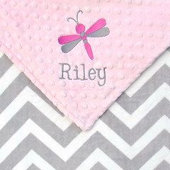 Gray and White Chevron Minky Baby Blanket with Dragonfly Embroidery (SouthernSassyPants) Tags: southernsassypantsonetsy minkybabyblanket personalizedminkyblankets embroidered babyshowergift giftsbaby customtoddlerblanket