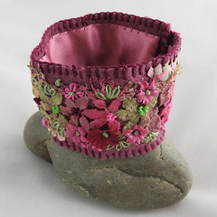 Embroidered Cuff - hand-dyed vintage lace - burgundy and green (Lynwoodcrafts) Tags: embroidered handembroidered stitched lynwoodcrafts cuff embroideredcuff lace vintagelace handdyed burgundy green ribbon