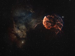 Jellyfish Nebula (manuel.huss) Tags: space nebula supernova nova jellyfish brain explosion universe cosmos tejat propus deep sky night wonder telescope astronomy astrophotography science ic443 sharpless249 gemini red orange blue green yellow stars astrometrydotnet:id=nova1944230 astrometrydotnet:status=solved