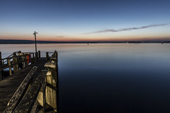 Poole Bay: Jetty in the Blue Hour (tim.clarke37) Tags: poole bay harbour studland night nighttime nightsky nightime longexposure blue hour canon canoneos canon5d water sea dorset purbeck