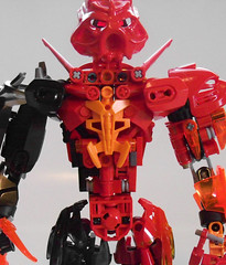 Novan, the Fire Brawler V4 (Pakari_Nation99) Tags: bionicle lego mocs novan red fire power toys toa tahu update building pakarination99 pakari nation99 fighing big mask matoran