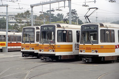 US CA - San Francisco MUNI Boeing LRV lineup at Metro Yard - 1225, 1310, and 1238 (David Pirmann) Tags: sanfrancisco california tram trolley streetcar transit muni balboapark boeing lrv filmscan
