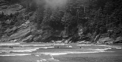 Smuggler's Cove (Samantha.Ariel) Tags: ocean bw white black beach fog oregon coast pacific cove pnw smugglers smugglerscove