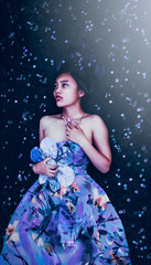 La Dernière Fleur (Dizzodin) Tags: portrait selfportrait flower color girl purple conceptual persephone myth