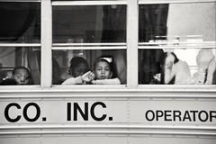 Little girl (J.T.W) Tags: nyc school blackandwhite bw white newyork black bus hope delete7 delete save2 littlegirl save5 schoolbus streatphoto deletedbythedeletemeuncensoredgroup afroamrican