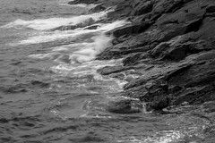 surf below Burnt Head, Monhegan, Maine, Nikon D40, nikon nikkor 55mm f-3.5, 6.27.15 (steve aimone) Tags: ocean blackandwhite monochrome rocks surf waves head maine monochromatic burnt below atlanticocean monhegan primelens nikond40 nikonprime nikonnikkor55mmf35