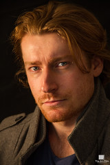 Dave Beamish (Patrick Gatling) Tags: shadow red portrait black male contrast dark model muscle redhead acting actor backdrop rugged smoulder