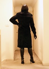 Getting It Right (6) (Furre Ausse) Tags: black leather fur boots coat skirt blouse gloves satin
