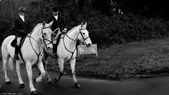 Behold a pale horse! (Neil. Moralee) Tags: horse fox rider hunt hunting hounds foxhunting pale horses stallion mare man woman devon uk sport bw black white blackandwhite mono monochrome outdoor people rural country neil moralee hemyock panasonic lumix lx7 master culture countryside farming landowner thehunt boxing day