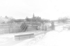 The Lonely Bench (Anvilcloud) Tags: winter bw bench carletonplace mississippiriver snow hbm townhall