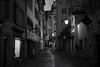 christmas lights @ Froschaugasse Zurich (Toni_V) Tags: m2402220 rangefinder digitalrangefinder messsucher leica leicam mp typ240 type240 summiluxm zurich zürich altstadt street niederdorf isebähnli froschaugasse city stadt switzerland schweiz suisse svizzera svizra europe blackwhite bw monochrome schwarzweiss perspective night nacht sundaymorningphototour iso320 ©toniv 2016 161127 50lux 50mm