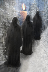 Winter Procession (lisaleo2) Tags: women snow winter ritual procession parade trees figures dark hooded shrouded mystery mysterious cold solemn candle flame black white glow fantasy digital collage