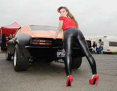 Holly FT  122 (Fast an' Bulbous) Tags: american muscle car mopar pontiac firebird fast speed power santa pod outdoor vehicle automobile girl woman hot hotty sexy chick babe pinup model long brunette hair tight leather pvc leggings jeans red shoes stilettos high heels nikon d7100 gimp