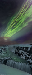 Gullfoss turned green (Ron Jansen - EyeSeeLight Photography) Tags: iceland gullfoss golden green waterfall corona northern lights aurora borealis night snow winter cold water stars